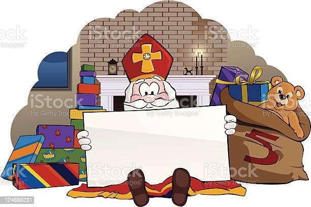 Sinterklaas Holding Sign Stockvectorkunst en meer beelden van Blanco bord