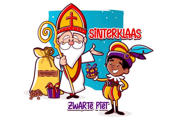 Sinterklaas Illustration Fiesta de San Nicolás (Países Bajos) ilustración sinterklaas stock illustrations