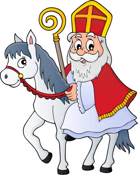 sinterklaas auf pferd thema bild 1 - reiter stock-grafiken, -clipart, -cartoons und -symbole