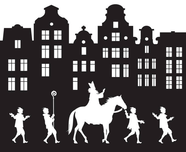 Sinterklaas Parade procession in the Old City Sinterklaas Parade procession in the Old City, Dutch Santa Claus Heilige Nikolaus on his horse and his helpers, Saint Nicholas Arrival Festival in Netherlands, Belgium, Germany, Luxembourg sinterklaas stock illustrations