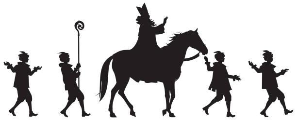 Sinterklaas Parade Vector Silhouettes Sinterklaas Parade, Santa Claus Heilige Nikolaus on horse and his helpers, Sinterklaas Festival procession winter holiday vector Silhouettes, Saint Nicholas surrounded by his helpers sinterklaas stock illustrations