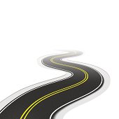 Two lane zigzag Highway with textured asphalt.