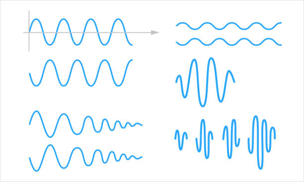 Sinusoid. A set of sinusoidal waves Sinusoid. A set of sinusoidal waves. Pulse lines isolated on a white background. Vector symbol sine wave stock illustrations