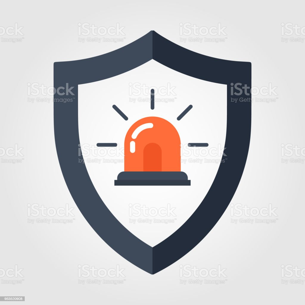 Siren Alarm Icon in flat style isolated on white background. Break-in Alarm symbol for your web site design, logo, app, UI. Vector illustration, EPS10. vector art illustration