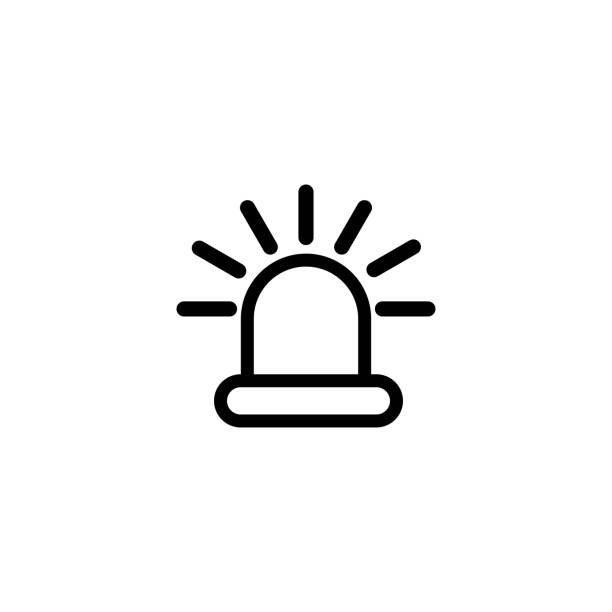 Siren Light Line Icon In Flat Style Vector For Apps, UI, Websites. Black Icon Vector Illustration Siren Light Line Icon In Flat Style Vector For Apps, UI, Websites. Black Icon Vector Illustration. accidents and disasters stock illustrations