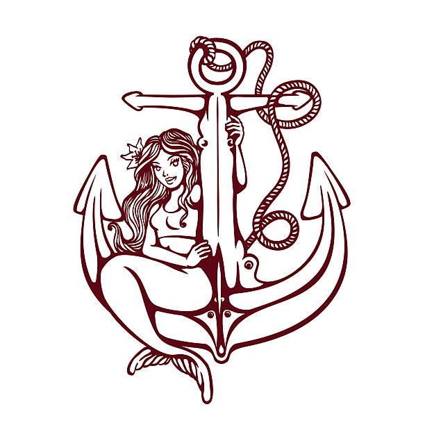 """illustrations, cliparts, dessins animés et icônes de sirène de sirène pin up fille sur une ancre """" old school""""  tatouage vecteur conception - tatouages de sirène"""