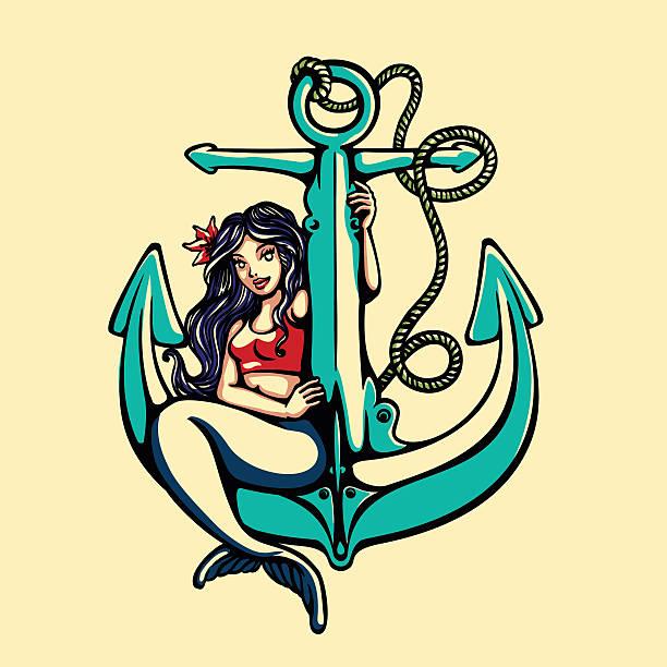 illustrations, cliparts, dessins animés et icônes de sirène pin-up fille sirène assise sur une ancre marine tatouage vecteur - tatouages de sirène