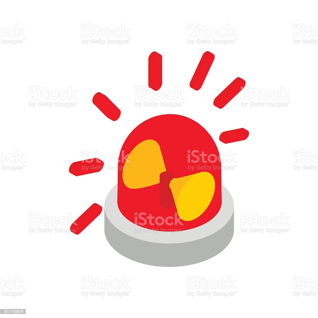 Siren red flashing emergency light isometric icon vector art illustration