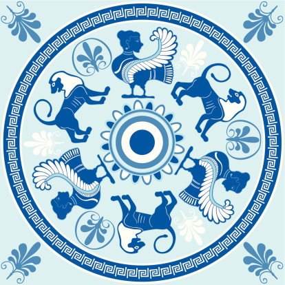 Sirens and lions Greek ornament in blue and white colors