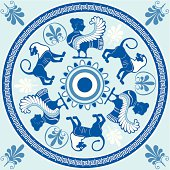 Sirens and lions Greek round ornament in blue and white colors. Illustration decorated with classical Greek ornament - a labyrinth. Ancient Greece pattern. Imitation of ancient hand-painted.