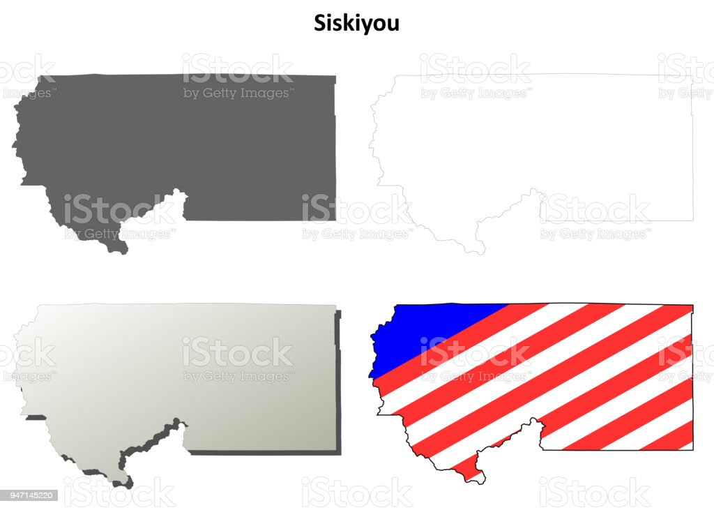 Siskiyou County California Outline Map Set Stock Vector Art More