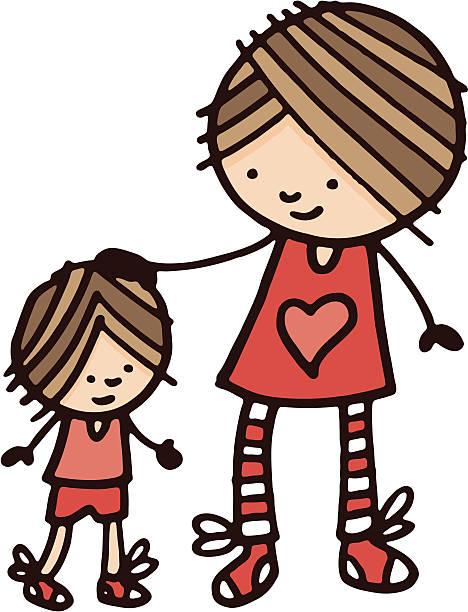 姉妹、彼女の弟 - 姉妹点のイラスト素材/クリップアート素材/マンガ素材/アイコン素材