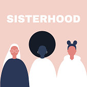 Sisterhood. Woman, girl. Gender equality. Feminism. Set of female portraits. Flat editable vector illustration, clip art.