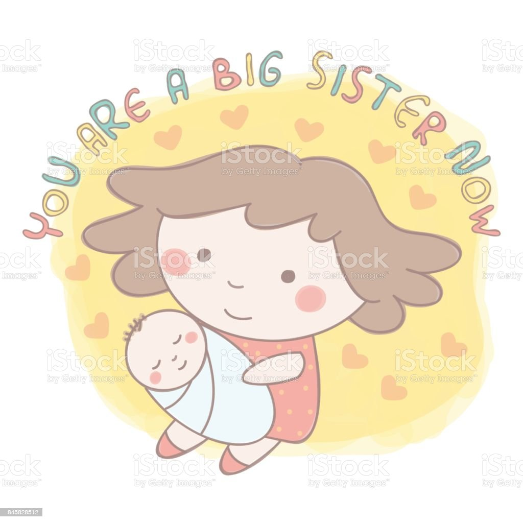 Sisters and brothers vector art illustration