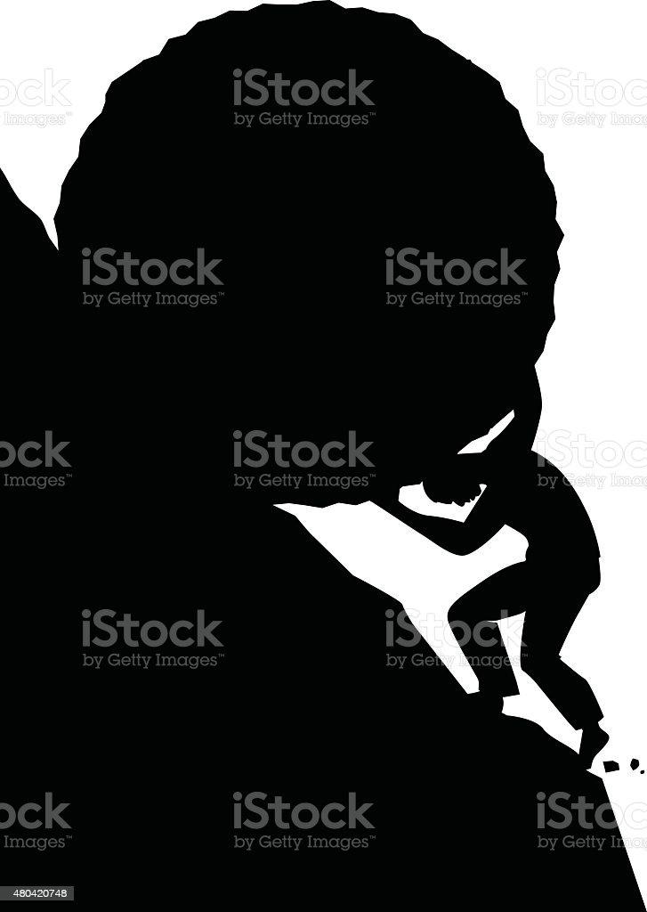 Sisyphus silhouette vector art illustration