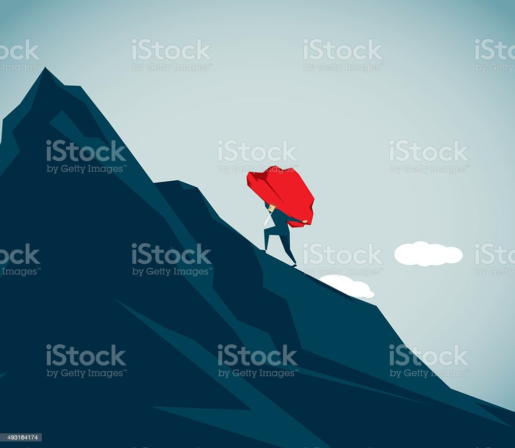 Sisyphus vector art illustration