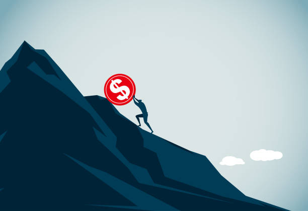 sisifos - mountain top stock illustrations