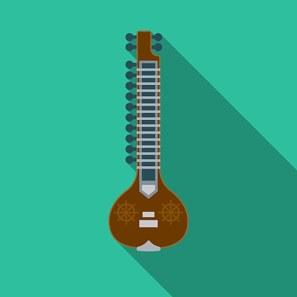 Sitar Flat Design India Icon with Side Shadow