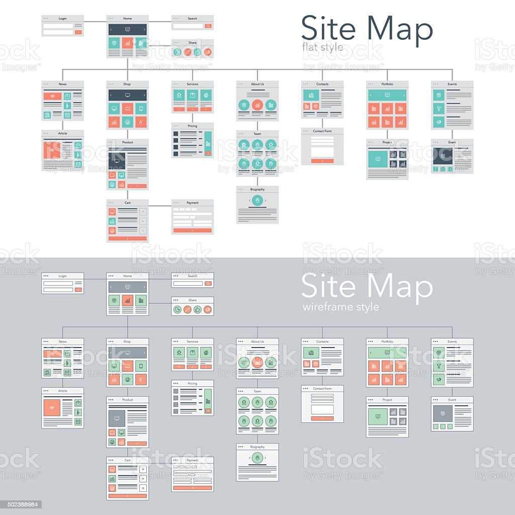 Site Map vector art illustration