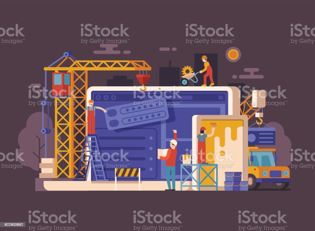Site Under Construction Concept vector art illustration