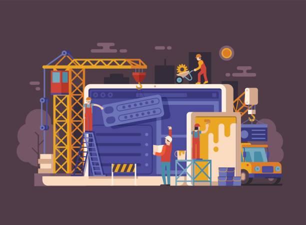 website unter baukonzept - bauarbeiter stock-grafiken, -clipart, -cartoons und -symbole