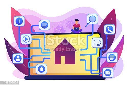 Development service, smart house, IOT technology, network programming. Sitemap creation, website content model, site navigation map concept. Bright vibrant violet vector isolated illustration