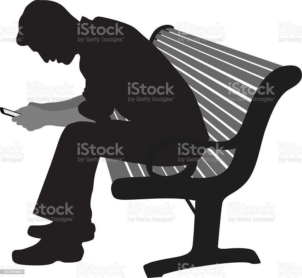 Sitting Alone And Texting vector art illustration