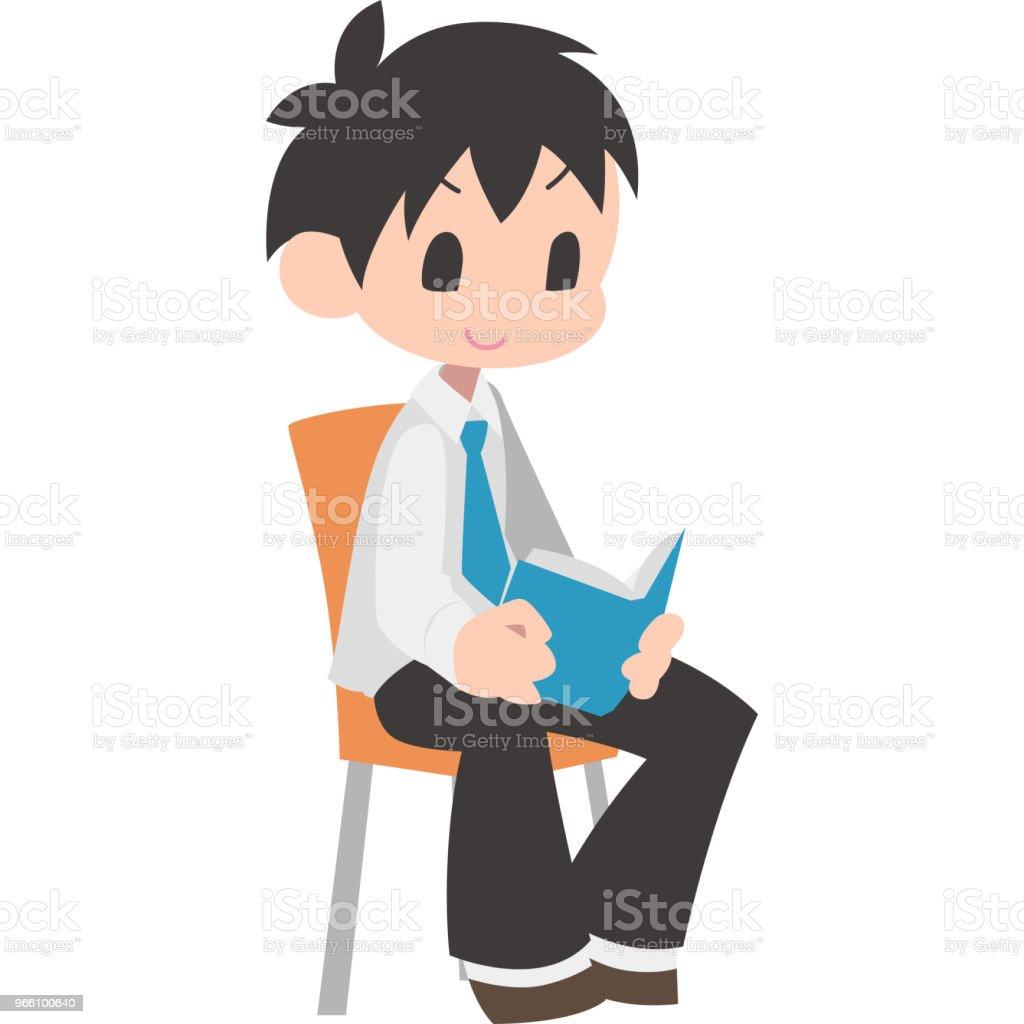 座っていると男の子の本を読んで ベクターアートイラスト