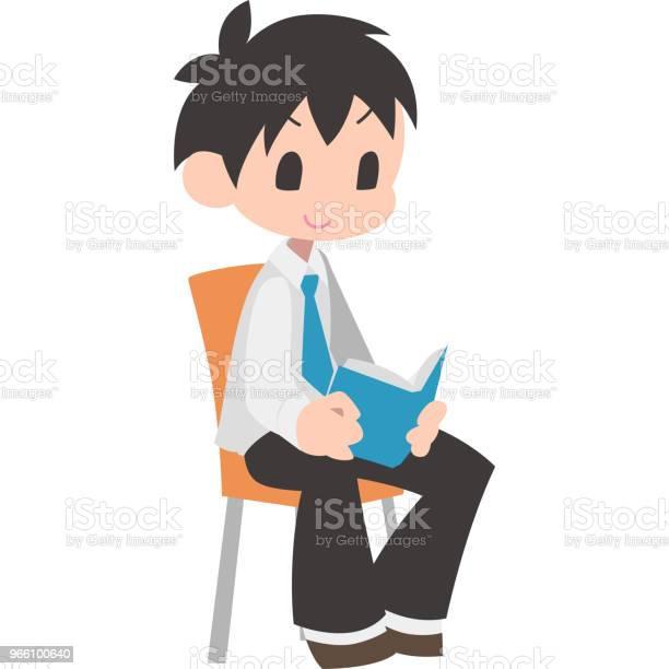 Sitta Och Läsa Böcker På Pojkar-vektorgrafik och fler bilder på Barn