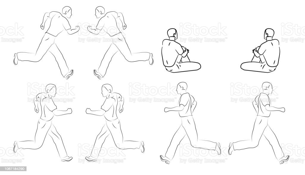 Sitting and Running black line mens on white background. Vector graphic icon set. Sketch style vector art illustration