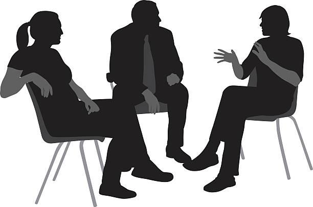 stockillustraties, clipart, cartoons en iconen met sitting and talking silhouettes - jonge mannen