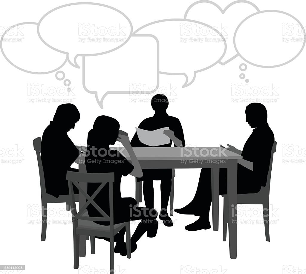 Sitting At The Table With Speech Bubbles vector art illustration