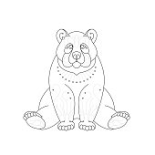 Sitting Bear (Line Art Doodle Drawing)