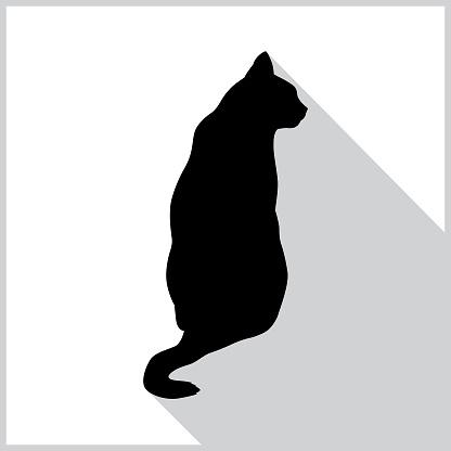 Sitting Black Cat Icon
