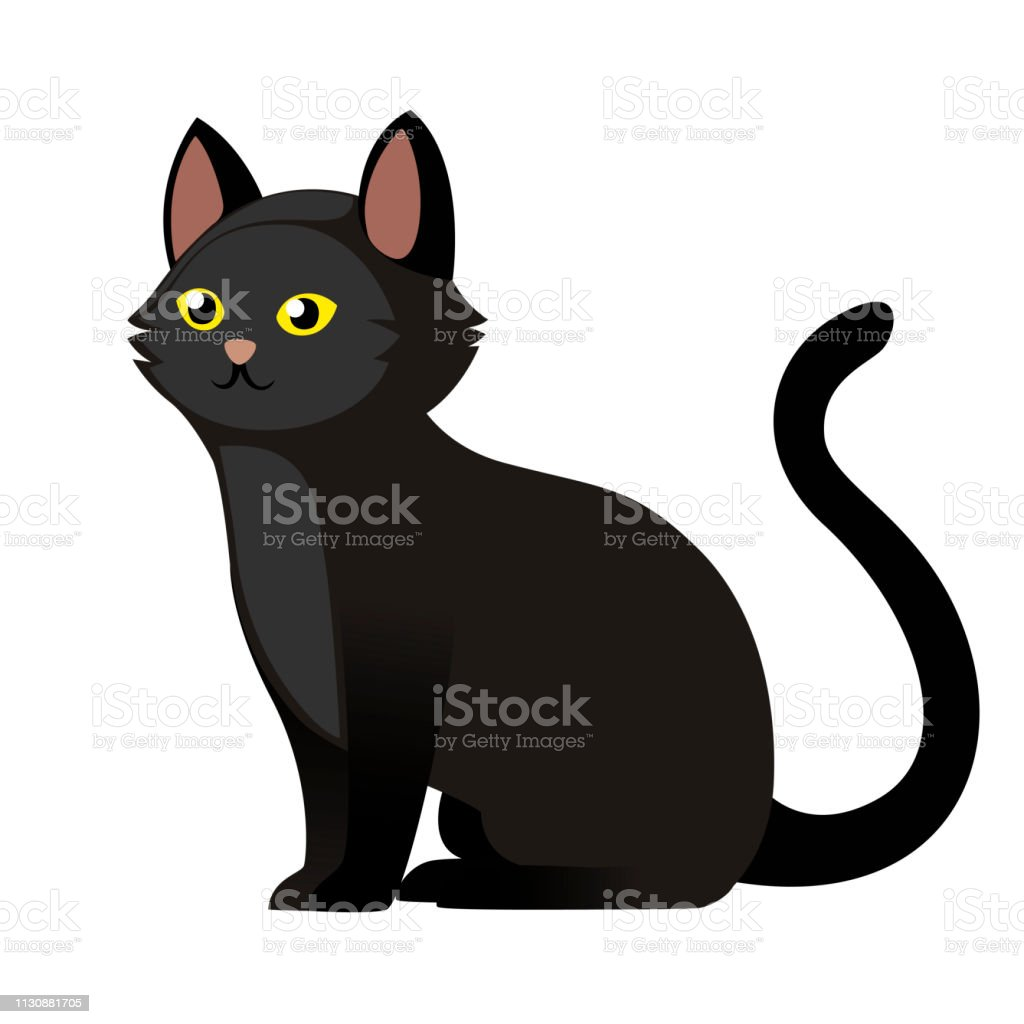 Sitting Black Cat With Yellow Eyes Cute Home Animal Cartoon Character Design Flat Vector Illustration Isolated On White Background Stock Illustration Download Image Now Istock