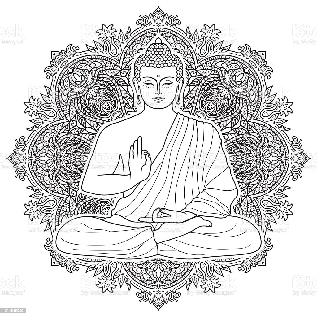 Sitting Bubbha in Lotus position vector art illustration