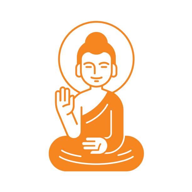 sitting buddha illustration - buddha stock illustrations, clip art, cartoons, & icons
