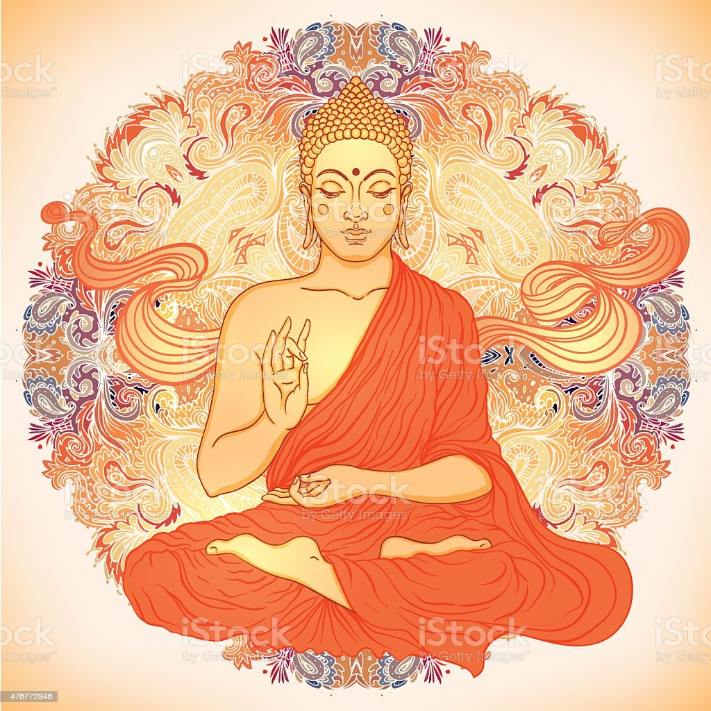 Sitting Buddha over ornate mandala round pattern vector art illustration