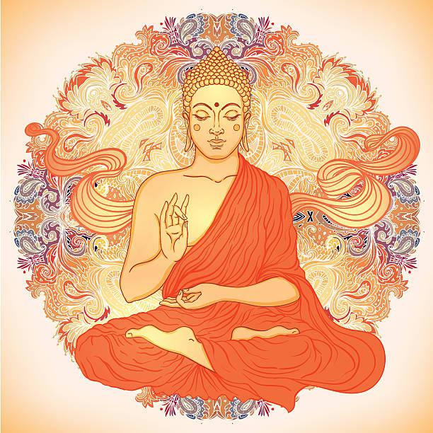 stockillustraties, clipart, cartoons en iconen met sitting buddha over ornate mandala round pattern - buddha