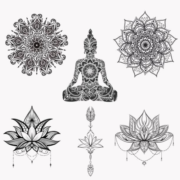 stockillustraties, clipart, cartoons en iconen met boeddha zittend met gedetailleerde lotusbloem. - boeddha