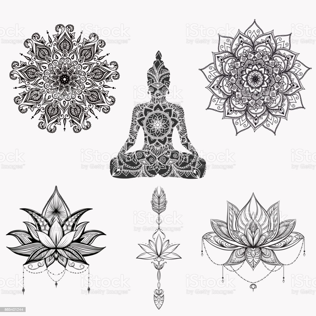 Sitting Buddha With Detailed Lotus Flower Stock Vector Art More