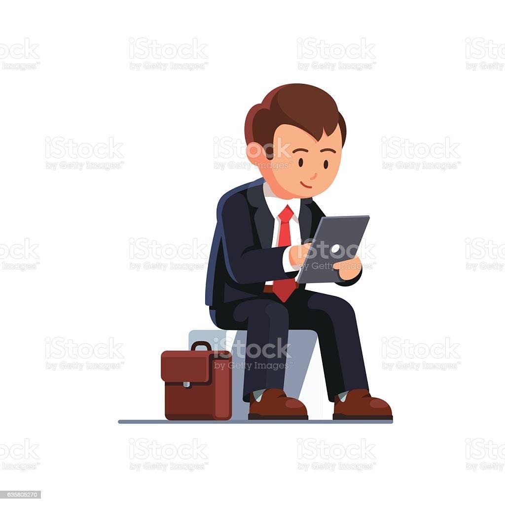 Sitting business man using his tablet computer vector art illustration