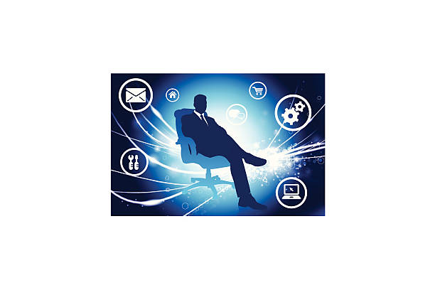 Sitting Businessman on Fiber Optic Background with Internet Icons vector art illustration