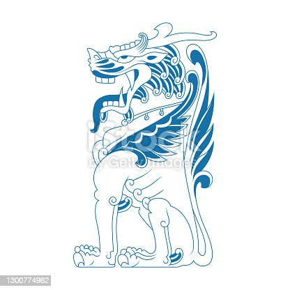 istock Sitting Chinese lion 1300774962