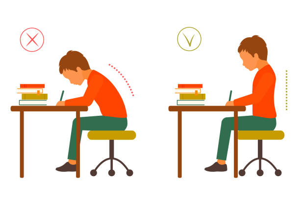 座っている健康的なバックの正しいと不適切な姿勢 - 作文の授業点のイラスト素材/クリップアート素材/マンガ素材/アイコン素材