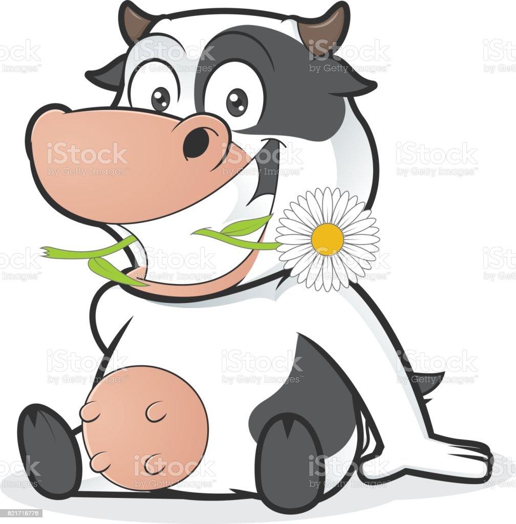 Sitzende Kuh Essen Gänseblümchen Stock Vektor Art und mehr Bilder ...