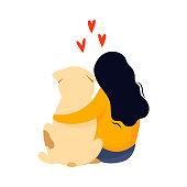 Sitting girl embrace her dog. Friendship concept. Colorful vector cartoon illustration