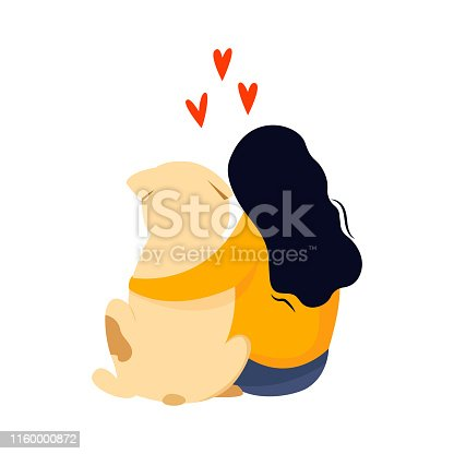 Sitting girl embrace her dog. Friendship concept. Colorful vector cartoon illustration