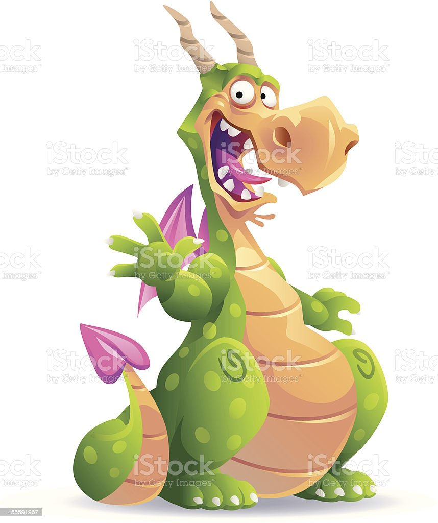 Sitting Green Dragon royalty-free stock vector art