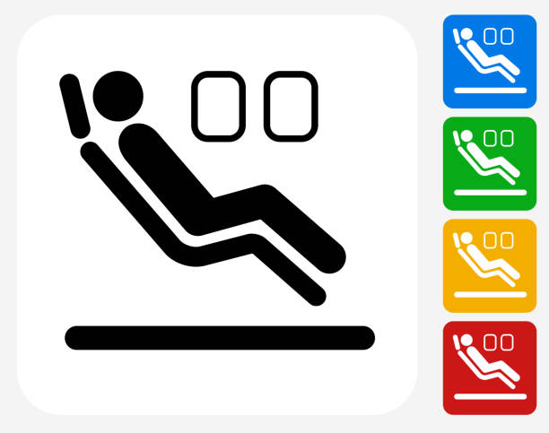 sitzbereich im flugzeug symbol flache grafik design - fahrzeugsitz stock-grafiken, -clipart, -cartoons und -symbole